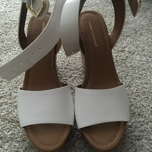 Brand New Tommy Hilfiger White Leather Wedges